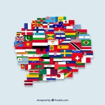Flaggen der verschiedenen länder in der spracheblasenform