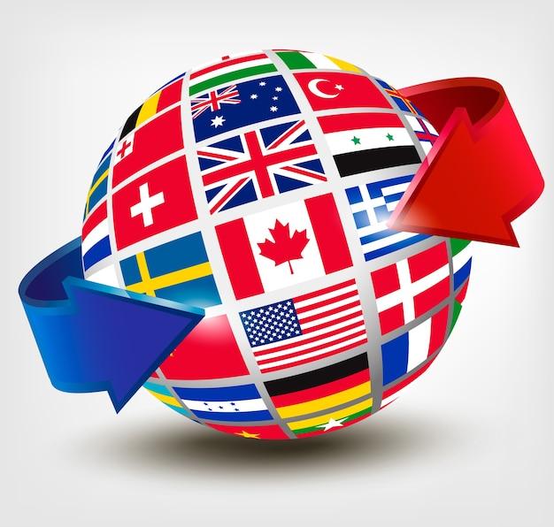 Flaggen der welt auf einem globus mit einem pfeil