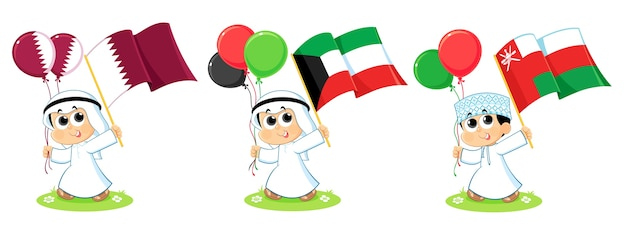 Flaggen des golfkooperationsrates (katar, kuwait und oman)