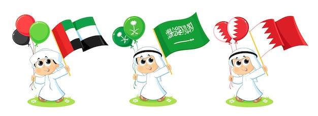 Flaggen des golfkooperationsrates (vereinigte arabische emirate, saudi-arabien und bahrain)
