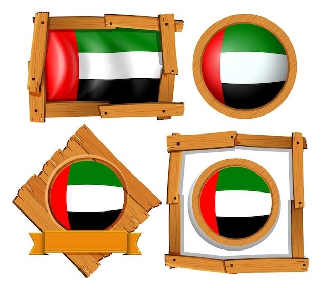 Flaggen-icon-design für arabische emirate in verschiedenen formen