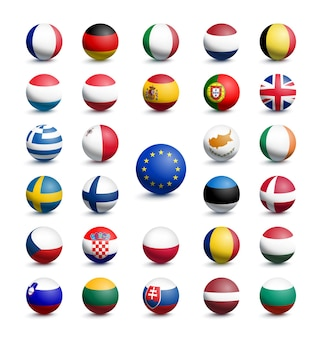 Flaggen in form einer kugel der europäischen union zusammen mit dem vereinigten königreich. vektor-illustration