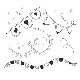 Flaggen-party-doodle oder flaggen-dekoration