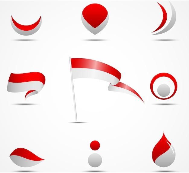 Flaggen und ikonen von indonesien