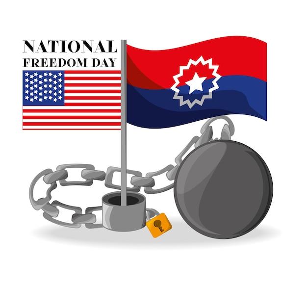 Flaggen und kette, um nationale freiheit zu feiern