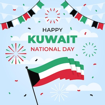 Flaggen und konfetti flaches design kuwait nationalfeiertag