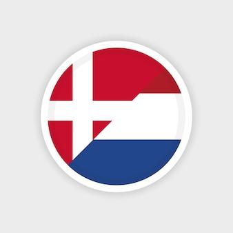 Flaggen von dänemark und den niederlanden mit einem kreisrahmen und weißem hintergrund