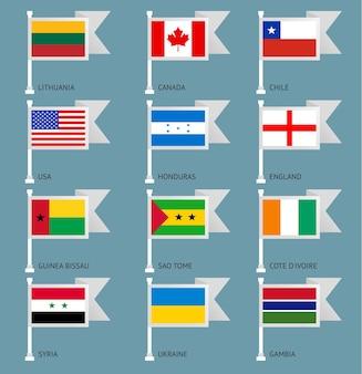 Flaggen von kanada, usa, england, honduras, syrien, ukraine, côte divoire, guinea-bissau, chile, sao tome, gambia, litauen