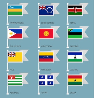 Flaggen von venezuela, quebec, sansibar, karakalpakstan, kirgisistan, kenia, niue, cookinseln, abchasien, ghana, lesotho, philippinen,