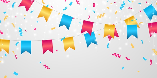 Flaggenfeier konfetti und bänder bunt, ereignisgeburtstag