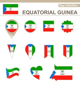Flaggensammlung von äquatorialguinea, 12 versionen Premium Vektoren
