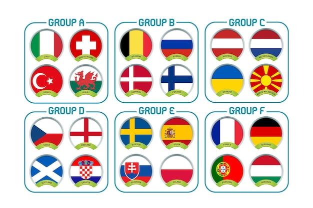 Flaggensymbole der fußball-europameisterschaft