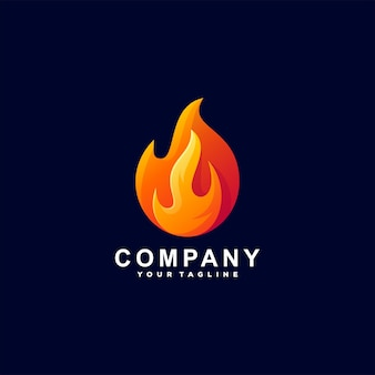 Flame fire gradient logo design