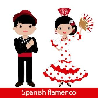 Flamenco-frau mit weißem kleid und flamenco-mann