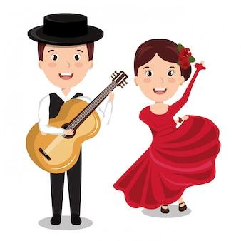 Flamenco-musiker mit tänzerin isoliert icon-design
