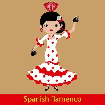 Flamencofrau, welche die kastagnetten spielt