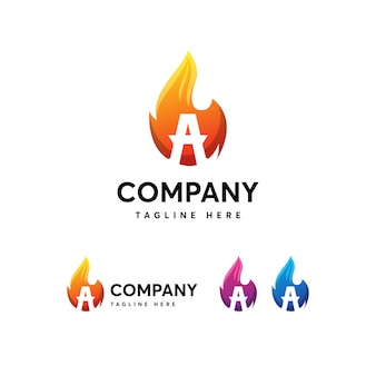 Flames fire letter eine logo-vorlage