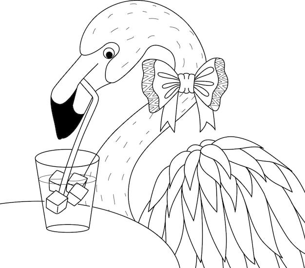 Flamingo, der cocktailglas auf den bäumen für malbuch, malvorlage trinkt. illustration Premium Vektoren