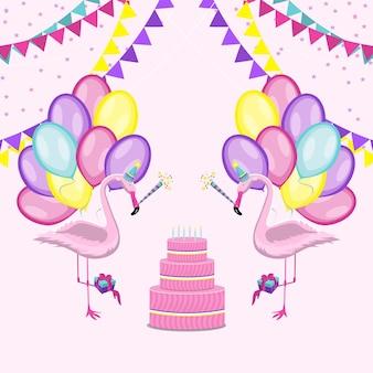 Flamingo feiert alles gute zum geburtstag. grußkarte. vektor-illustration.