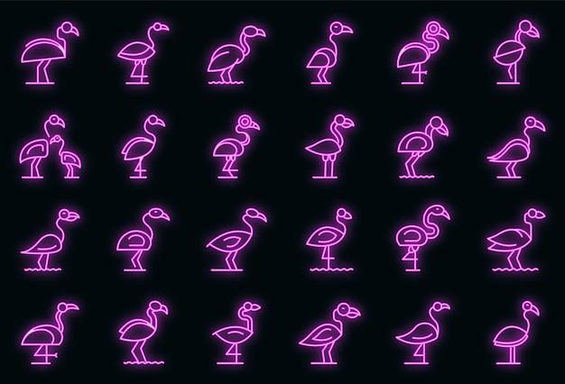 Flamingo icons set vektor neon