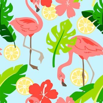 Flamingo im cartoon-stil. nahtloses muster. handgezeichnete abbildung. elemente für grußkarten, poster, banner. t-shirt, notizbuch und stickerdesign