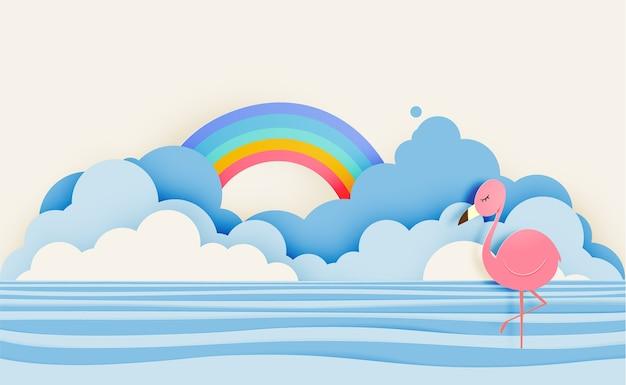 Flamingo in der papierkunstart mit see- und himmelhintergrund-pastellfarbschemavektor illustr