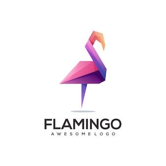 Flamingo-logo bunter geometrischer origami-farbverlauf