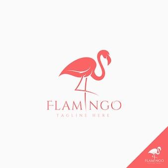 Flamingo-logo mit einfacher schattenbildartkunst-konzeptidee