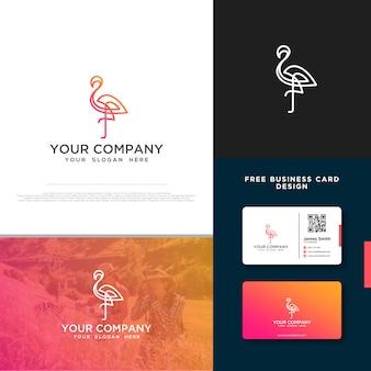 Flamingo-logo mit gratis-visitenkarte