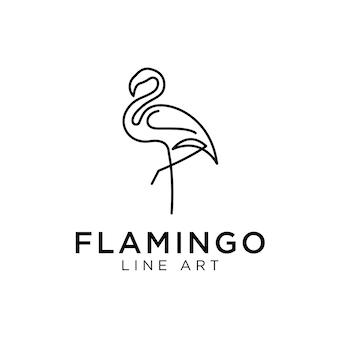 Flamingo logo monoline Premium Vektoren