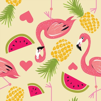 Flamingo mit monstera verlässt muster des sommers