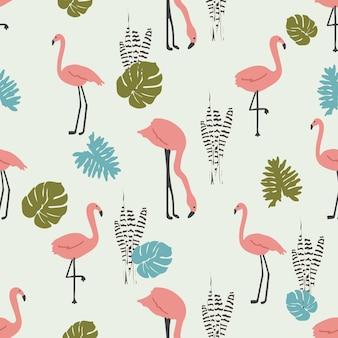 Flamingo mit nahtlosem mustergrau des tropischen blattes