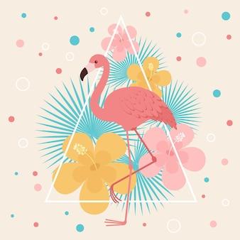 Flamingo mit tropischen blumen und blättern. vektorgrafiken