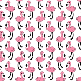 Flamingo nahtlose mustervogelkarikatur