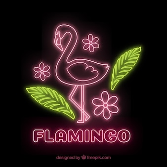 Flamingo neon mit pflanzen und blumen