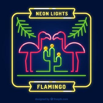 Flamingo neon mit pflanzen