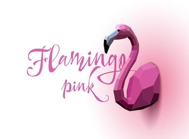Flamingo niedrig poly. dreieck kunst. vektor