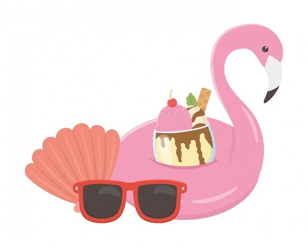 Flamingo schweben und sommer