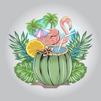 Flamingo sommer mit naturblatt und kokosnusskunst