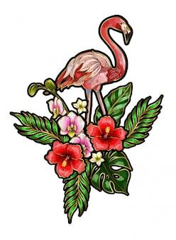 Flamingo-stickapplikationen mit blüten und blättern