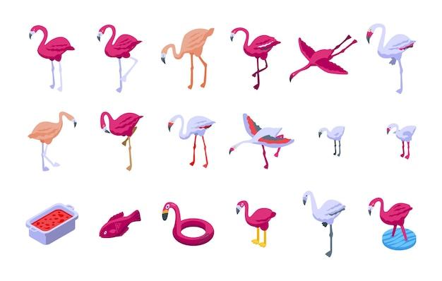 Flamingo-symbole gesetzt. isometrischer satz flamingovektorikonen für das webdesign lokalisiert auf weißem hintergrund