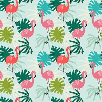 Flamingo und nahtloses muster der tropischen blätter.