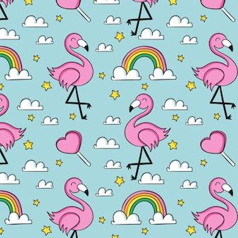 Flamingo- und regenbogenmuster
