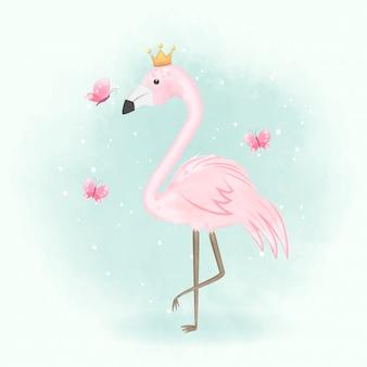 Flamingo- und schmetterlingshand gezeichnete illustration
