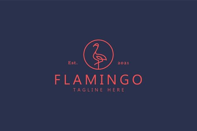 Flamingo-vogel-logo. kreative markenidentität im monoline-stil