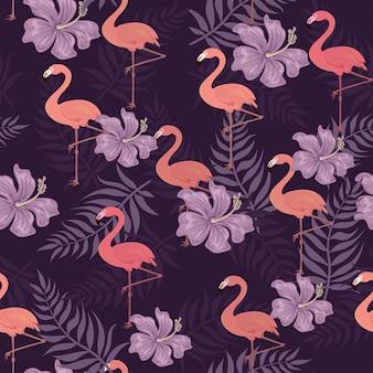 Flamingo-vogel-muster-hintergrund