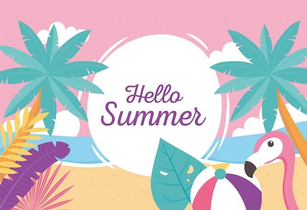 Flamingo vogel strandball mit exotischen tropischen blättern, hallo sommer schriftzug illustration