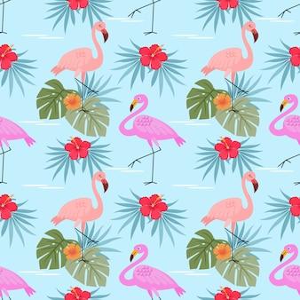 Flamingos mit nahtlosem muster der hibiskusblumen und -blätter.