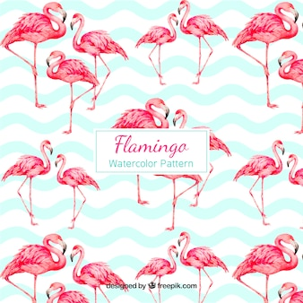Flamingos muster in aquarell-stil
