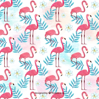 Flamingos muster in aquarell-stil